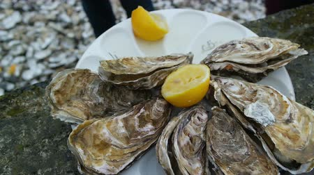 dozen : Man opens an oyster and waters it with lemon juice