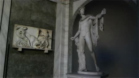 pio : Vatican, ITALY - SEPTEMBER 6, 2016. Apollo Belvedere sculpture in the Pio-Clementine museum of the Vatican Museums complex. Vídeos