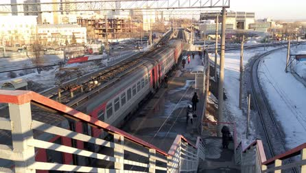 Russia, Novosibirsk, April 2017. Arrival of an electric train to a passenger station in Novosibirsk