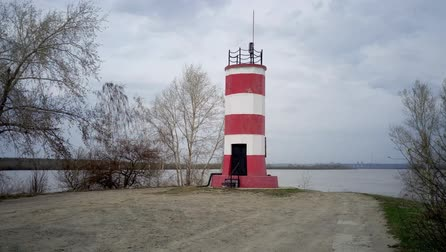 The old lighthouse on a spring day Stock Footage