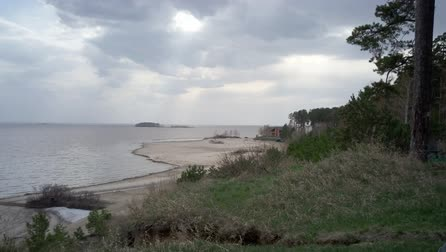 Beautiful view of the beach in a spring cloudy day