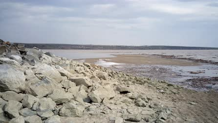 Sea with stony banks Stock Footage