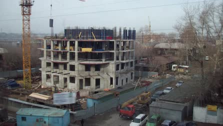 Time lapse arrival of spring on the construction site Stock mozgókép