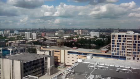 metropolitan area : Panoramic view of a city with clouds. Timelapse