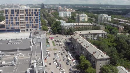 metropolitan area : Panoramic view of a city traffic. Timelapse