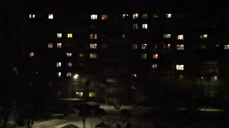 blocks of flats : Time lapse of High-density apartment block at night, Kursk