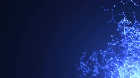 estruturas : Abstract molecular structure in 3D space on dark blue background. Looped animation.