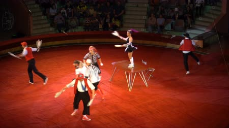 KURSK - JUNE 6 : circus performance, jugglers with skittles