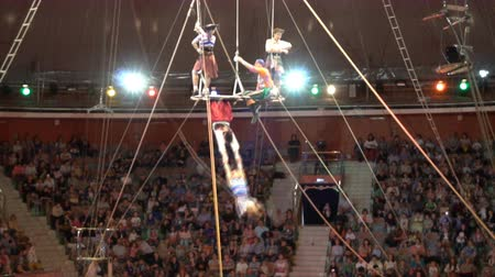 KURSK - JUNE 6 : circus performance of aerial balancers