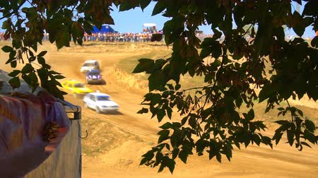 клетчатый : KURSK, RUSSIA - AUG 25: rally racing annual competition ,racers are driving through the sand