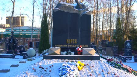 headstone : Kursk,Russia ,December 1 - 2018 - Kursk submarine monument.