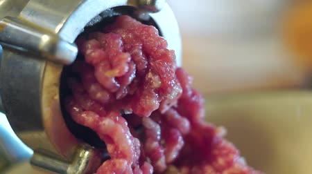 schab : meat from electric meat grinder and close-up cooking