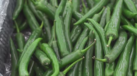 groene pepers : green chili peppers on the market Stockvideo