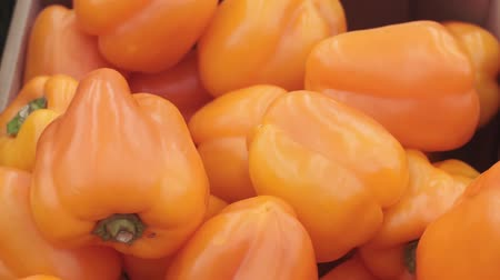 pimiento morron : orange peppers on the market Archivo de Video