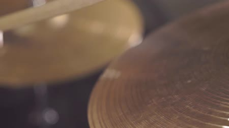 cymbals : playing on the drum set cymbals Stock Footage
