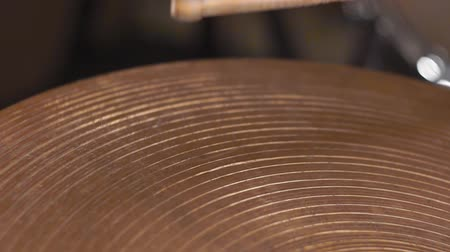 roll up : playing on the drum set cymbals Stock Footage