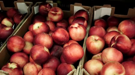 нектарин : Peaches, Nectarine. Delicious fresh fruits on the street market counter.