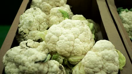 bakkal : Cauliflower closeup selling vegetables in the store