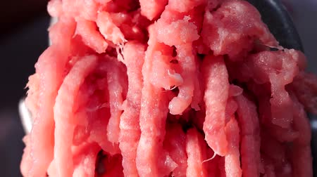 kiełbasa : pieces of meat come out through the holes in the meat grinder when it is scrolled, closeup Wideo