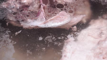 meat stock : Cooking soup, boiled meat in water. Poultry, boiled chicken, close-up Stock Footage