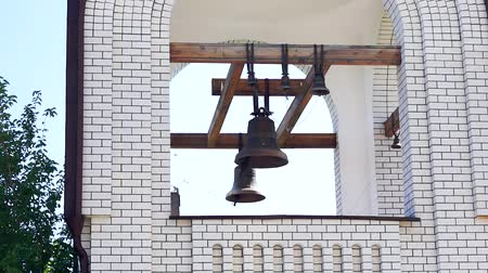 torre sineira : bell tower of the Church closeup. Summer day temple. Concept of religion, Christianity Stock Footage