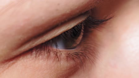 стегать : Macro Close-up eye blinking. Young Woman is opening and closing her beautiful eye.