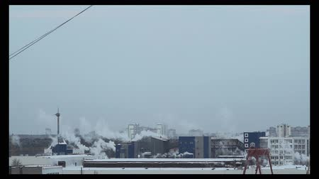 smoke from factories, urban landscape