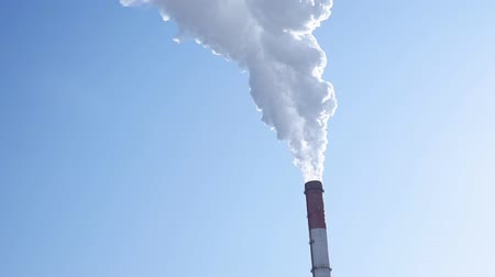дымоход : smoke from the chimney of the plant close up. Concepts of pollution of our atmosphere Стоковые видеозаписи