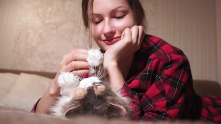 zamilovaný : young girl playing with a cat lying on the couch. selective focus