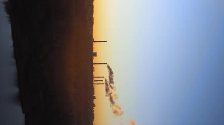 aquecimento global : factories smoke or steam into the atmosphere at sunset. concept of environmental pollution vertical video