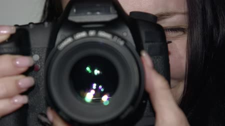 the conception : Photographer close-up takes the Picture Stock Footage