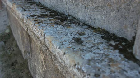 deteriorated : Stone ledge of the old structure. Stock Footage