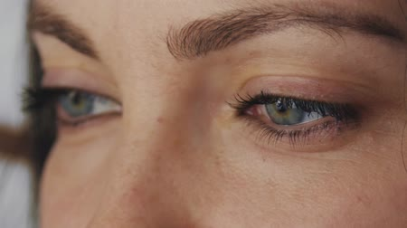 close up shot : Female eyes close-up. Stock Footage