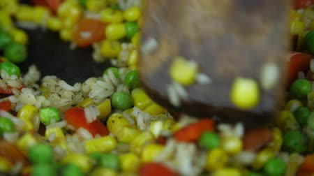 wok food : Stirring after pepper. Stock Footage