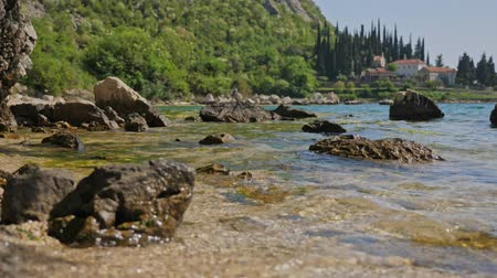 balkan : Large stones on the beach. Stock Footage