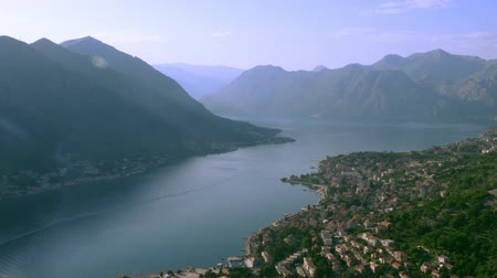 adriyatik : Kotor Bay and the surrounding mountains Stok Video