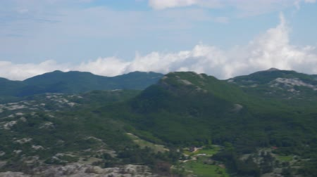 seasons changing : Rapid panorama of the mountain landscape. Stock Footage