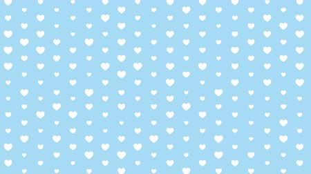 Pattern of hearts on a blue background. Loop. Vídeos