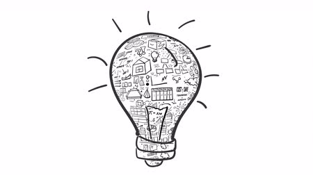 Light bulb and infographics - idea. Animated drawing of a bulb filled with infographic elements. Symbolizes the development of a fresh idea. It is an infographics on the alpha channel.