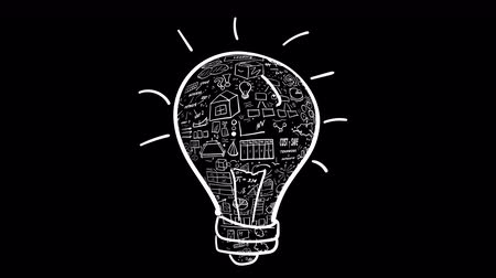 insight : Light bulb - idea and infographics fill Stock Footage