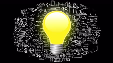 insight : Light bulb on infographics background Stock Footage