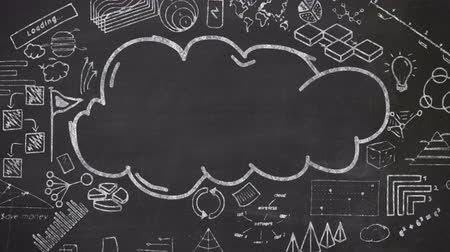 placeholder : Cloud and chalked infographics on blackboard.