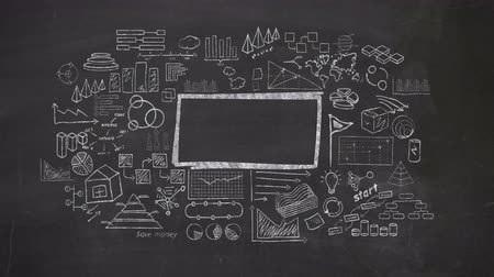 tablica : Frame surrounded by infographics drawn in chalk on a blackboard. Wideo