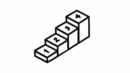 motion design : Hand-drawn infographic element - boxes in ascending order.