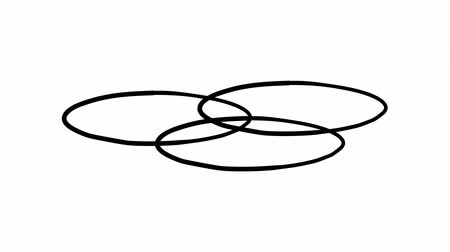 вычислять : A freehand drawn infographic element - three intersecting circles on a plane. Стоковые видеозаписи