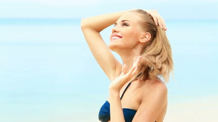 travel tropical : Portrait of happy woman enjoying the summer time at exotic beach Stock Footage