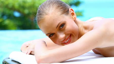 pretty : Portrait of beautiful woman on spa bed in tropical outdoor