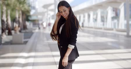 Happy Beautiful Business Woman Standing Outdoor