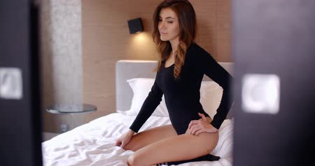 sock : Sexy Girl in Black Bodysuit on Bed
