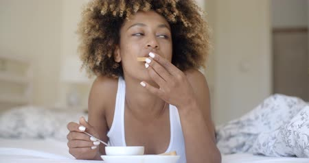 black tea : Woman Enjoying Breakfast In Bed